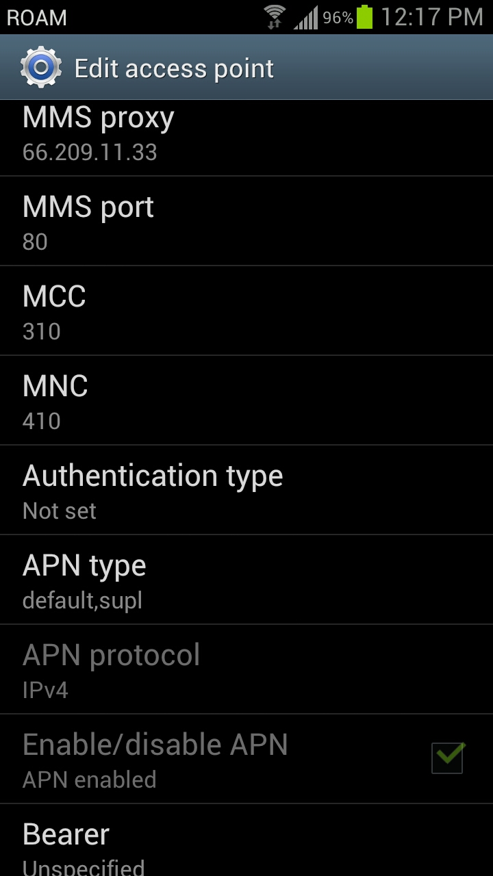 About straight talk apn settings for internet and mms for att samsung